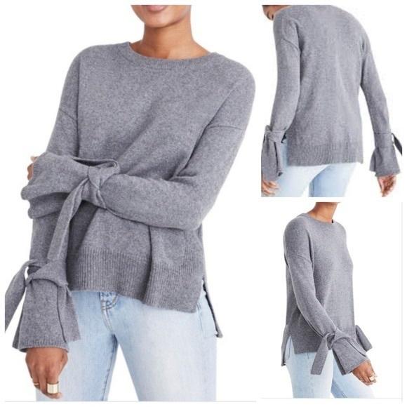 Madewell • Grey Tie Cuff Sweater